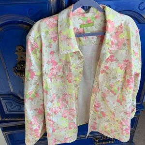 Sigrid Olsen Jacket 24W Plus Floral Print L/S